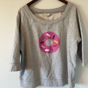 Kate Spade crewneck sweater 3/4 length sleeves size XL light gray w pink donut